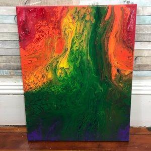 """16""""x20"""" hand painted acrylic fluid art"""